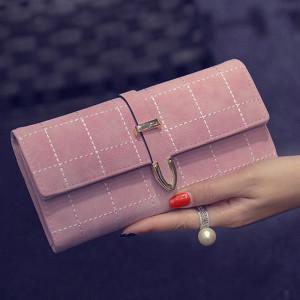 محفظة نسائية ثلاث طبقات لون زهري فاتح